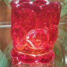 Moon and stars ruby red / amberina toothpick holder by L.E. Smith Glass