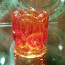 Moon and stars amberina toothpick holder by L.E. Smith Glass