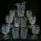 L.E. Smith Moon And Stars pitcher, 6 goblets and 4 tumblers