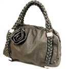 Pewter Handbag with Flower Accent