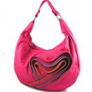 Fushia Handbag with Heart Zipper Accent