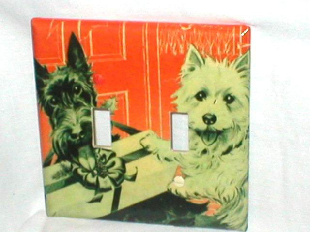 SCOTTISH TERRIERS~VINTAGE STYLE DESIGN~LIGHT SWITCHPLATE