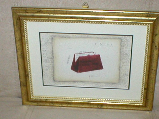 EMILY ADAMS FRAMED CINEMA RED PURSE PRINT~GOLD FRAME(a)