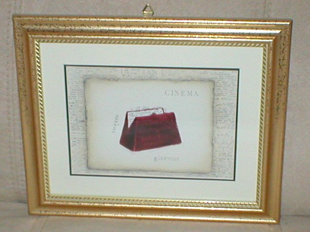 EMILY ADAMS~RED CINEMA PURSE~GOLD FRAMED PRINT(b)
