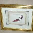 EMILY ADAMS RED HIGH HEEL~ELEGANCE~FASHION ~GOLD FRAMED PRINT
