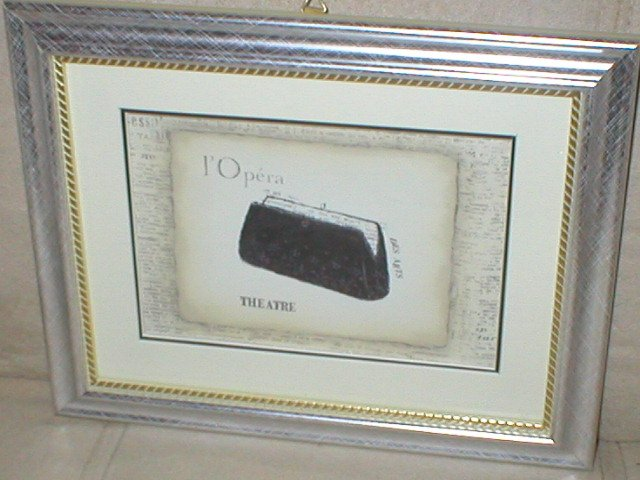 EMILY ADAMS~BLACK OPERA CLUTCH PURSE~SILVER FRAMED PRINT(a)