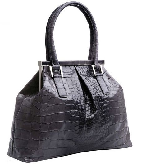 Bill Blass Embossed Crocodile Leather Frame Bag - Grey Ombre