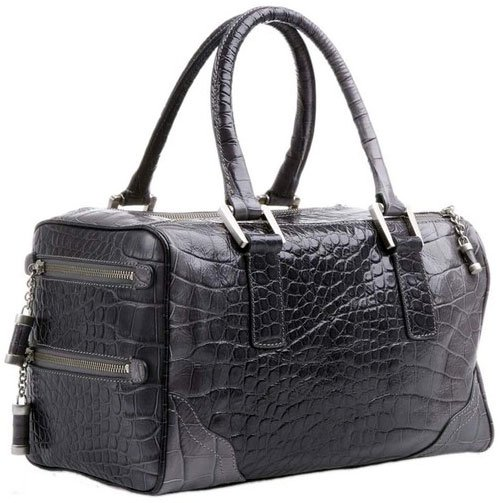 Bill Blass Matthew Embossed Crocodile Leather Satchel - Grey Ombre