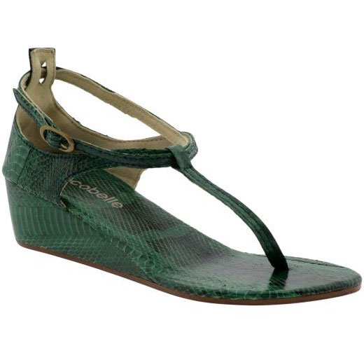 Cocobelle Snakeskin Wedge Sandal - 39 - Green