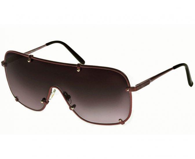 Chloé Oversized Aviator Shield Sunglasses with Rivets