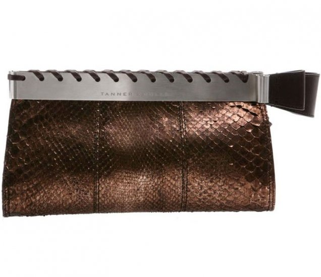 Tanner Krolle Starla Metallic Python Frame Clutch - Metallic Brown