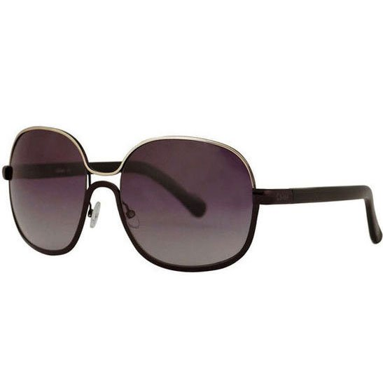 Chloe Oversized Chrome Retro Sunglasses - Black