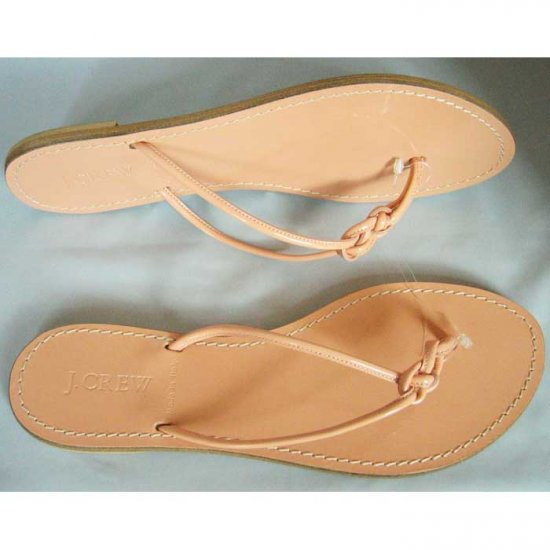 J. Crew Patent Leather Knotted Capri Sandals - US 9 - Seashell
