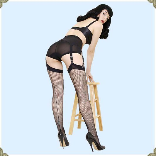 What Katie Did Seamed Fishnet Stockings