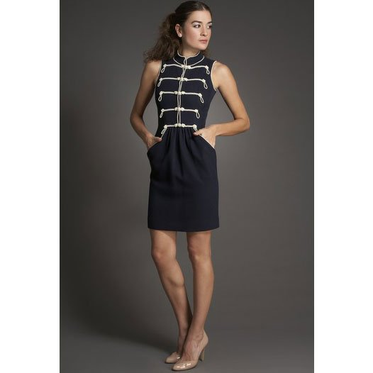 Chanel Nautical Pearl Dress - 34 - Navy