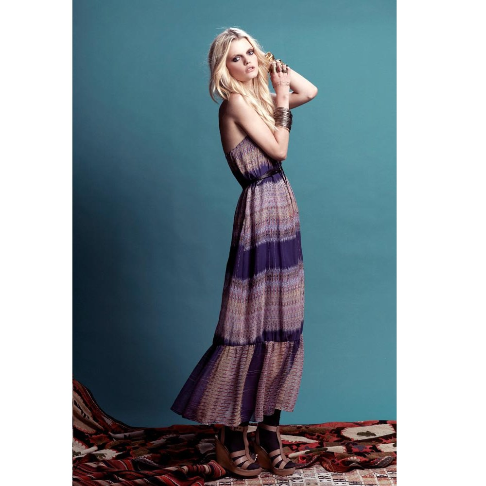 Twelfth St by Cynthia Vincent Strapless Ruffle Dress - US 8 - Blur Ikat
