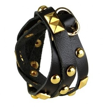 Nakamol Rocker Stud Leather Wrap Bracelet - Black