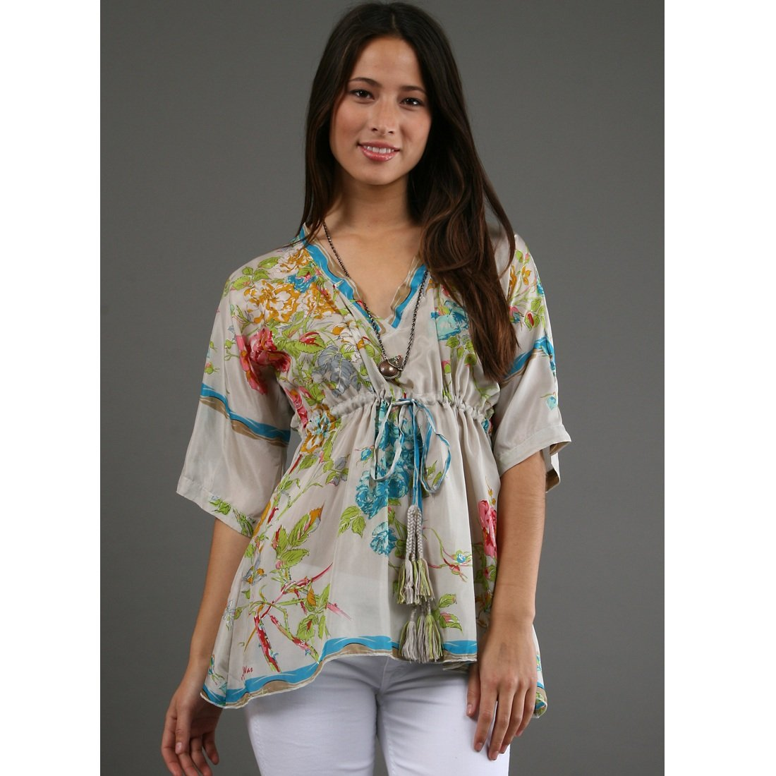 Johnny was silk floral tunic xs for Johnny was silk shirt