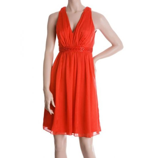 Carmen Marc Valvo Silk Chiffon Beaded Dress - US 8