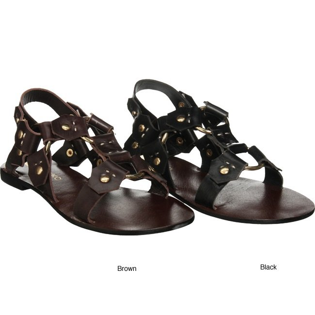 Matiko Roman Gladiator Leather Sandals - Black - US 8