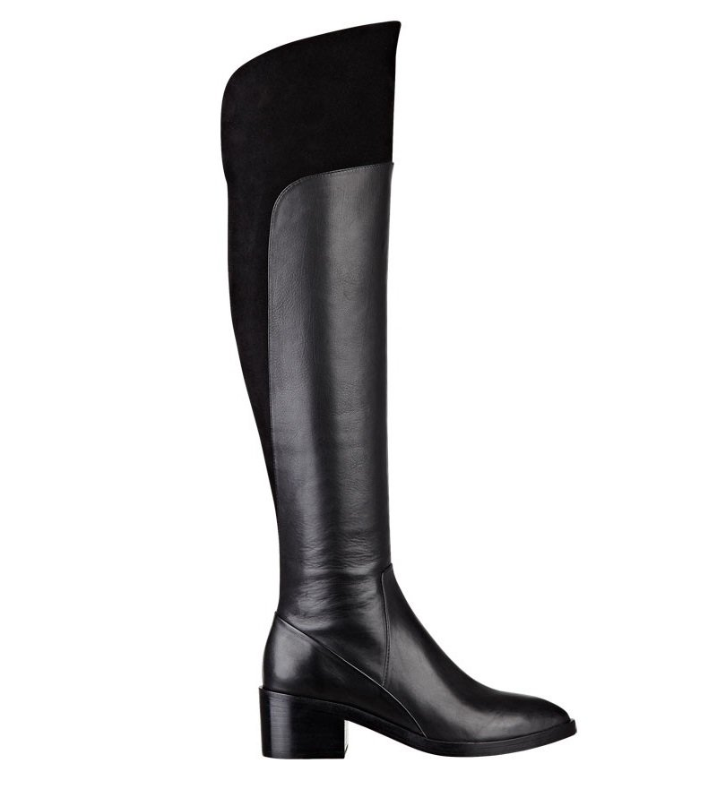 Sigerson Morrison Suede/Leather Over the Knee Boot - Black - US 10