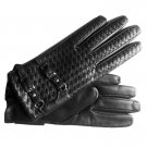 Hilts-Willard Ladies' Woven Lambskin Short Gloves - S - Black