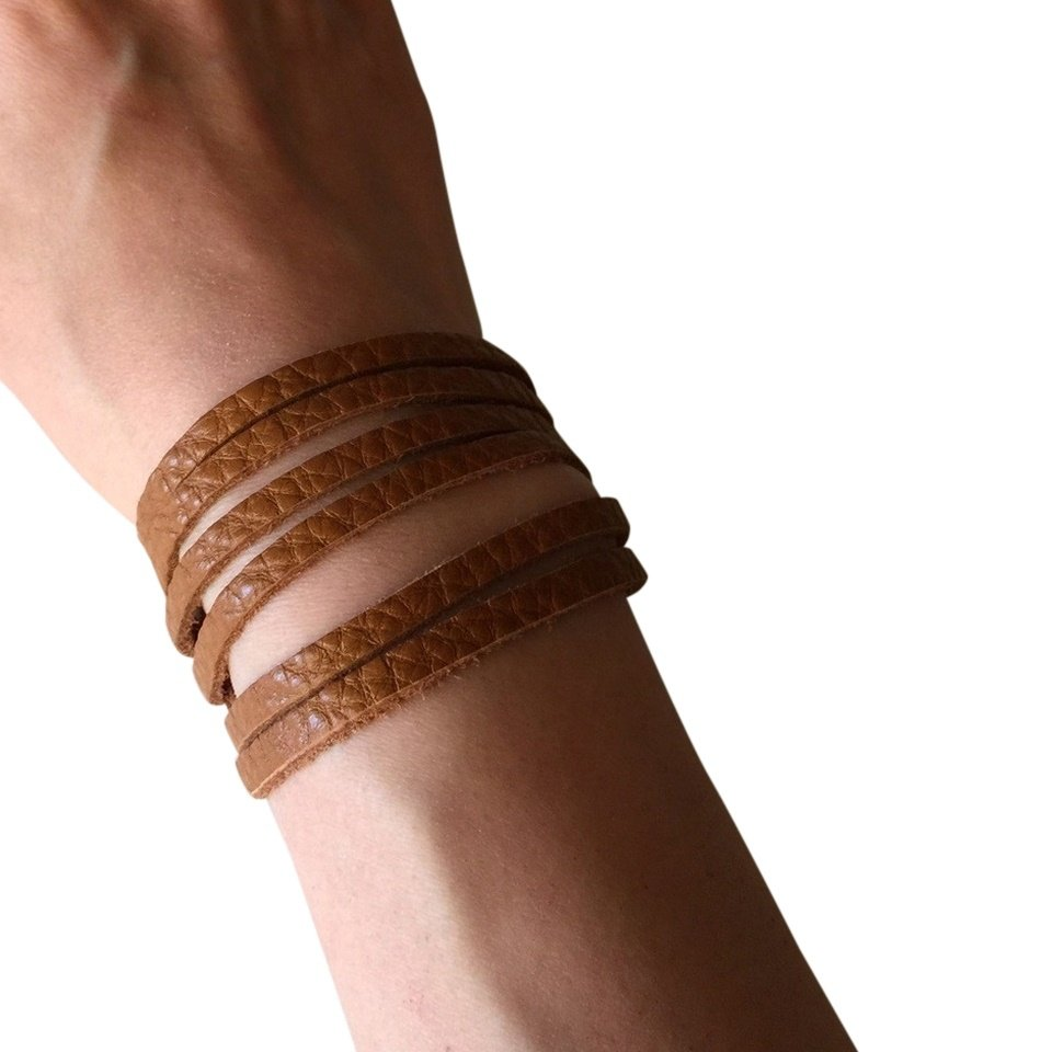 Slim Leather Strips Cuff - Pebbled Camel