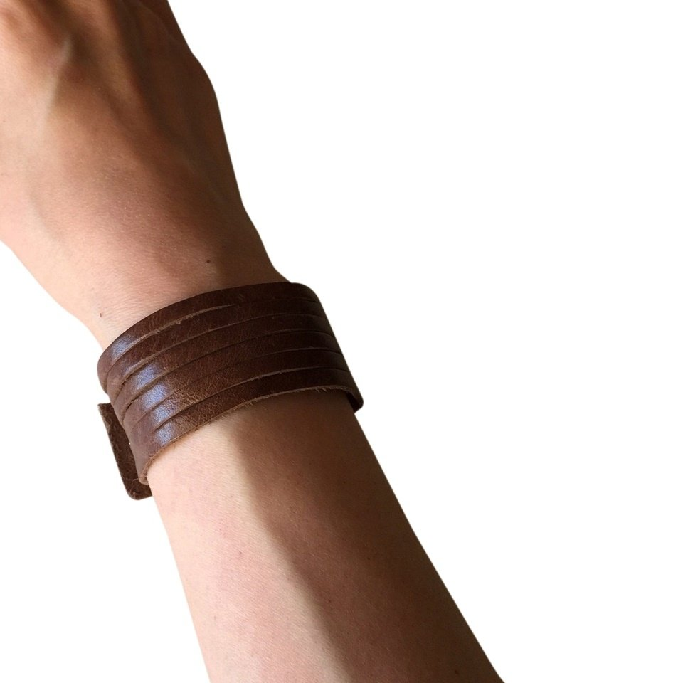 Slim Leather Strips Cuff - Distressed Brown