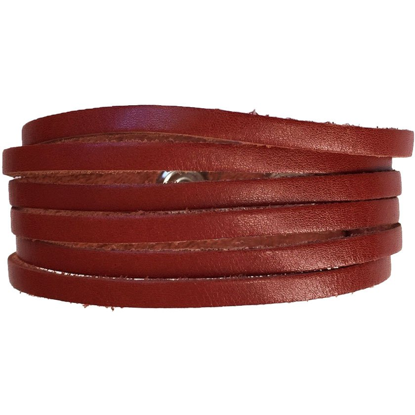 Slim Leather Strips Cuff - Luggage