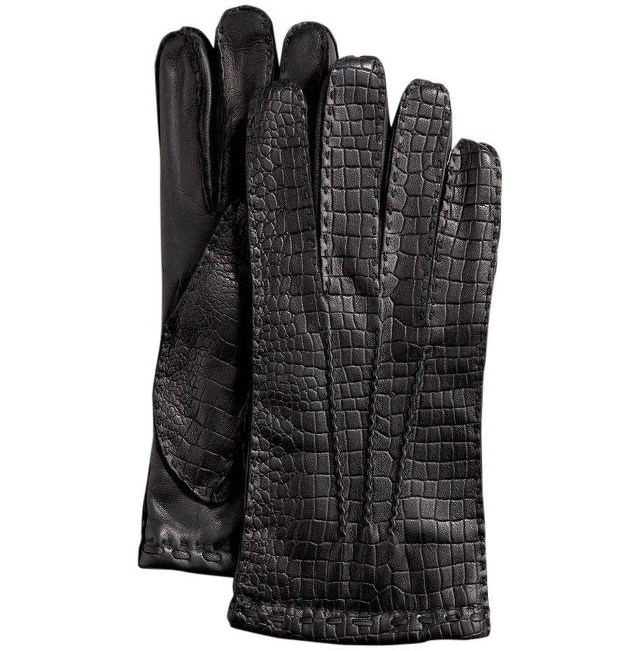 Hilts-Willard Men's Croc Lambskin Gloves - M - Black