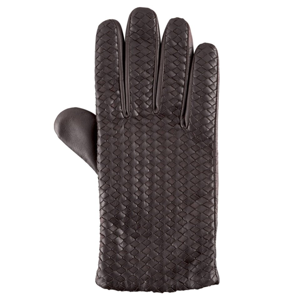 Hilts-Willard Men's Woven Lambskin Gloves - M - Dark Brown