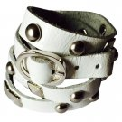 Nakamol Rocker Stud Leather Wrap Bracelet - White/Silver