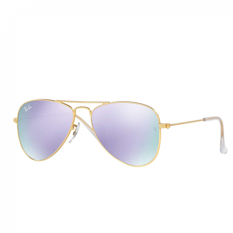 Ray-Ban Jr Aviator Sunglasses - Matte Gold/Mirror Lilac