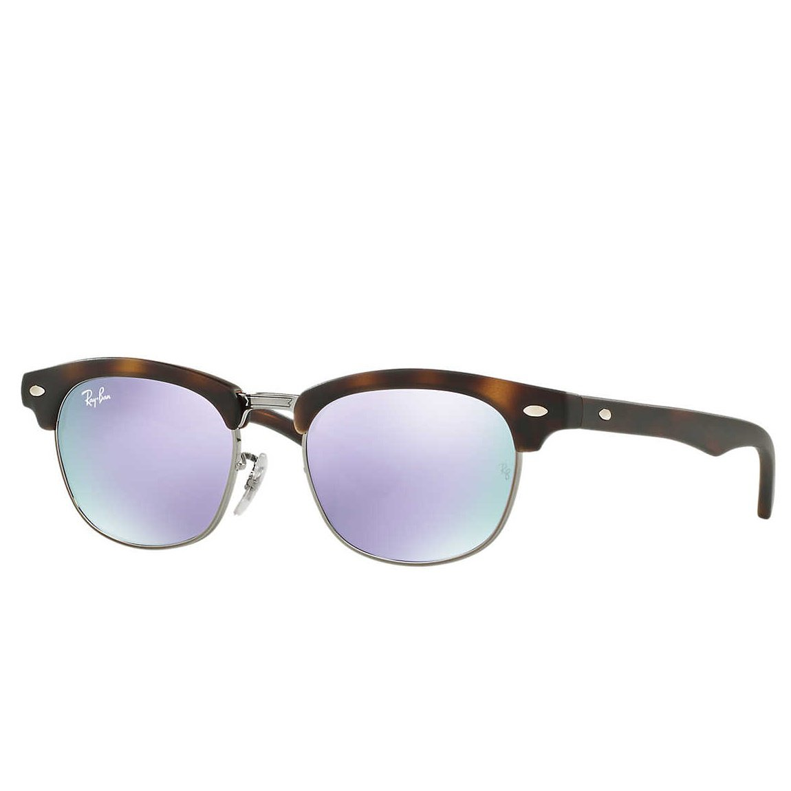 Ray-Ban Jr Clubmaster Sunglasses - Matte Tort/ Mirror Lilac