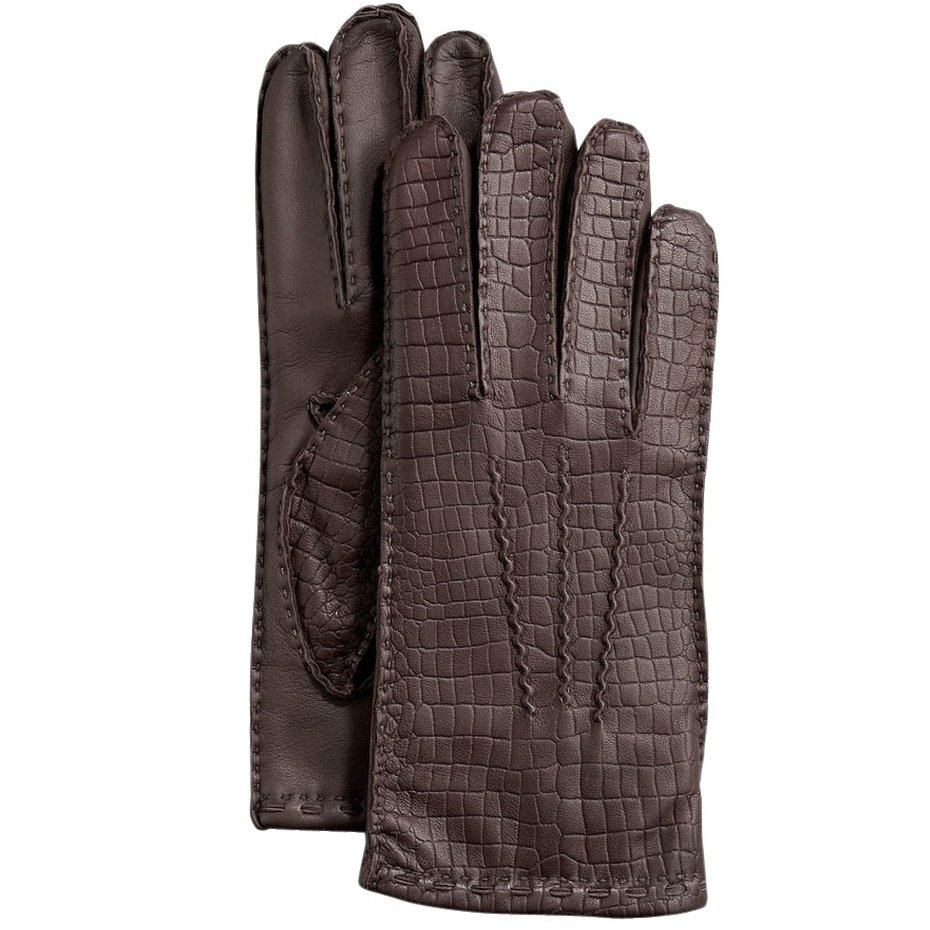 Hilts-Willard Men's Croc Lambskin Gloves - M - Dark Brown