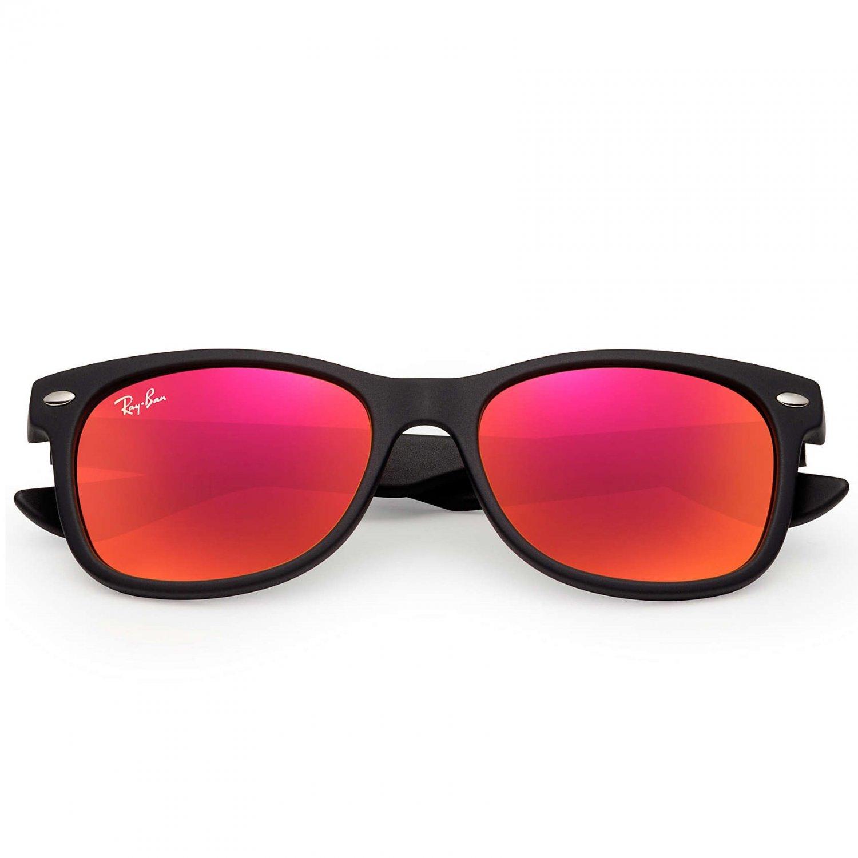 Ray-Ban Kids' New Wayfarer Sunglasses - Matte Black/Red Flash - 50mm