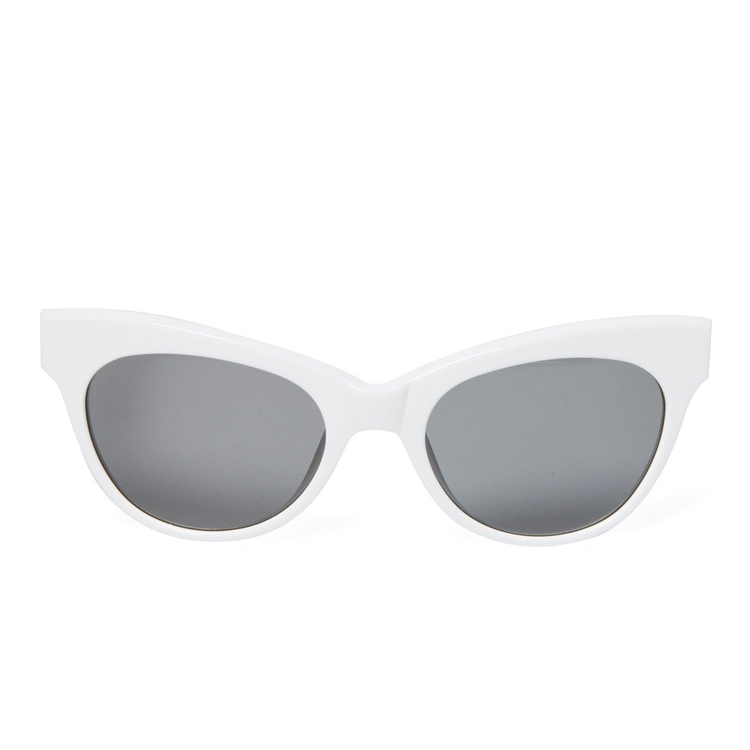 Linda Farrow x The Row Leather Cateye Sunglasses (White)
