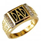 Mens 14K Yellow Gold Diamond and Onyx Dad Ring