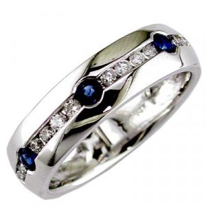 Mens 14K Diamond and Sapphire Ring