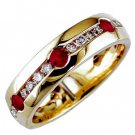 Mens 14K Diamond and Ruby Ring