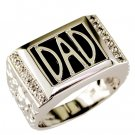 Mens 925 Sterling Silver Diamond and Onyx Dad Ring