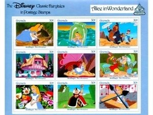 DISNEY'S ALICE IN WONDERLAND 30 CENT STAMP SET
