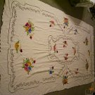 Antique Linen Tablecloth with Embroidered Flowers