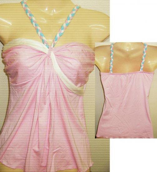 Women Sexy Trendy Fashion Designer T-Shirt Tank Top Pink/White