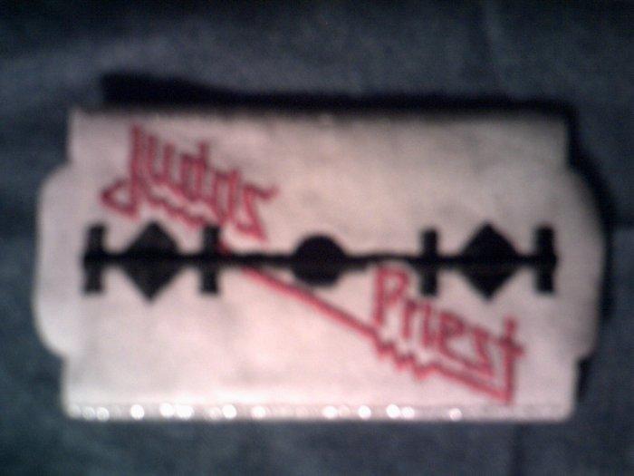 JUDAS PRIEST iron-on PATCH white razor logo VINTAGE