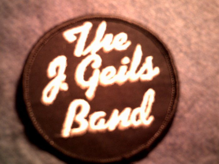 J GEILS BAND iron-on PATCH round B&W logo VINTAGE