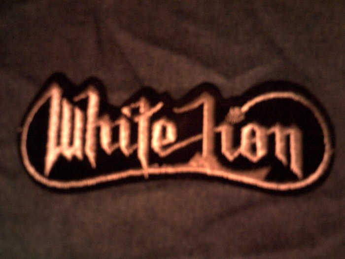 WHITE LION iron-on PATCH silver logo vito bratta VINTAGE