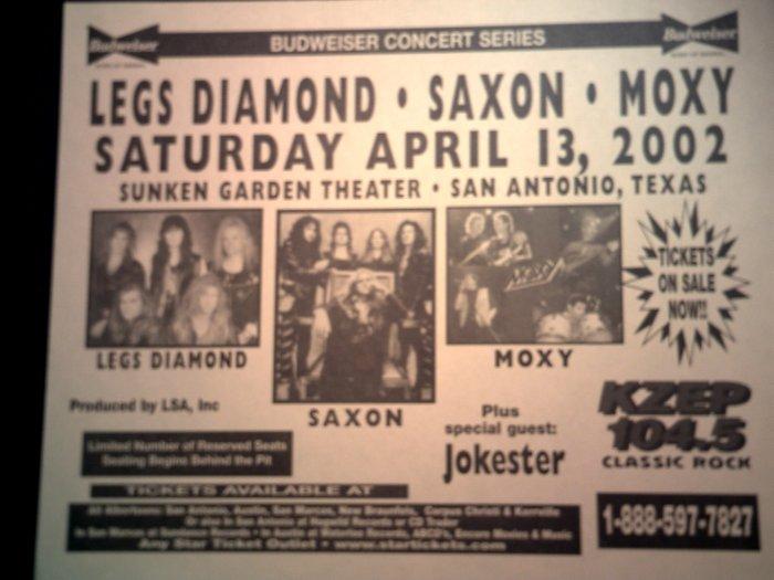 CONCERT FLYER Legs Diamond Saxon Moxy Jokester texas