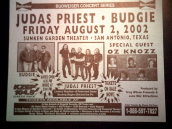 CONCERT FLYER Judas Priest Budgie Oz Knozz texas