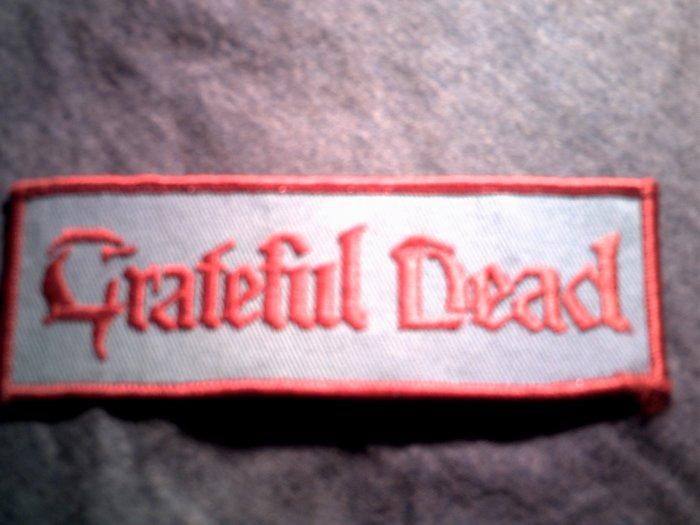 GRATEFUL DEAD iron-on PATCH red/blue logo VINTAGE